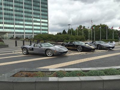 Ford GT's on display in Dearborn before national rally
