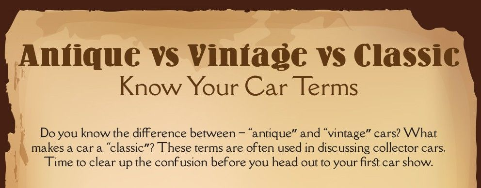 Vintage Vs Antique >> Antique Vs Vintage Vs Classic Know Your Cars Infographic