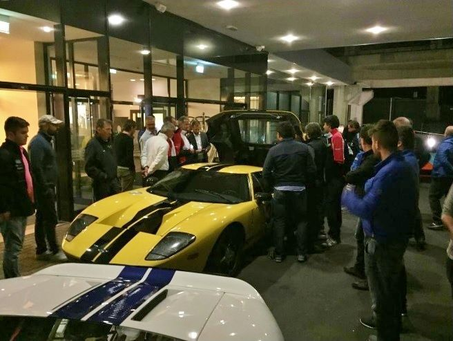 Day 2 Fords exclusive guests arrive at hotel with their pesonal ford GT road cars