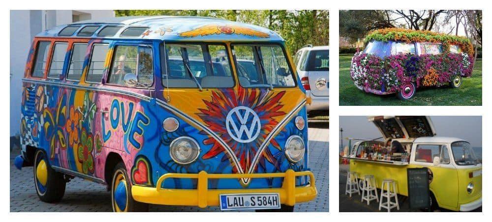Vintage vw bus hippie style