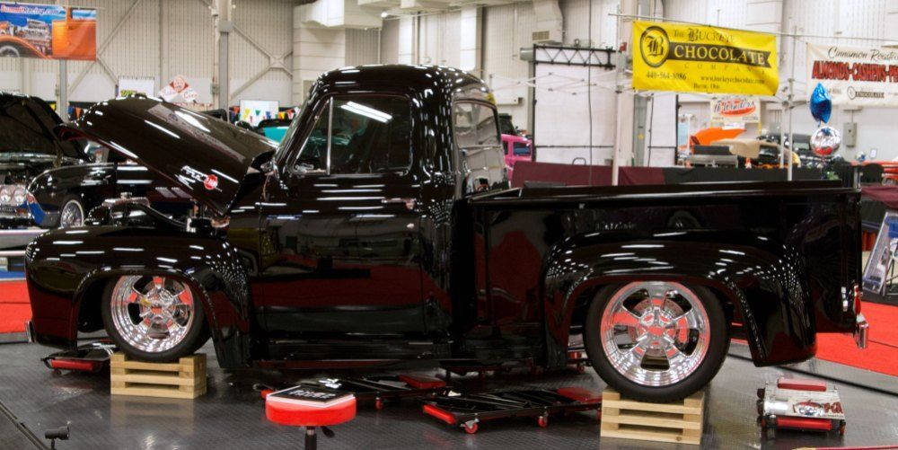 1955 Ford F100 in midnight black